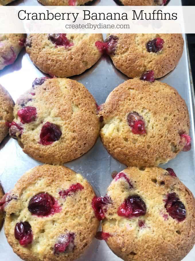 cranberry banana muffins recipe from createdbydiane.com