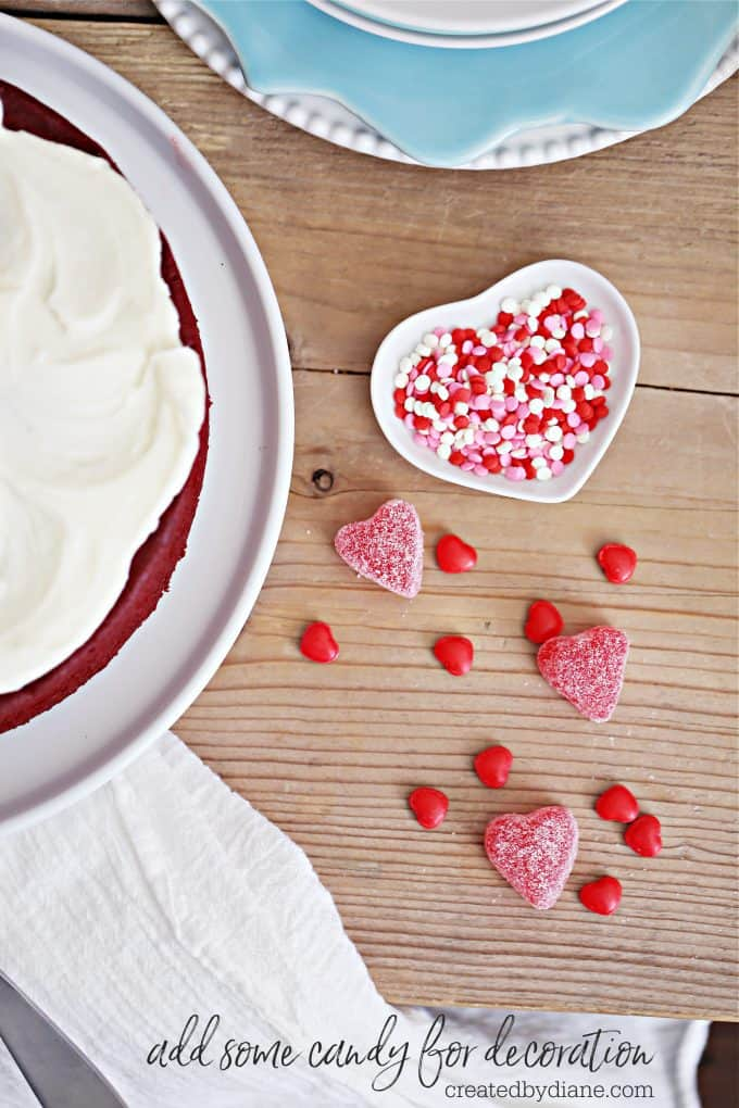 add some candy for decoration on red velvet cake #valentine #candy #heart createdbydiane.com