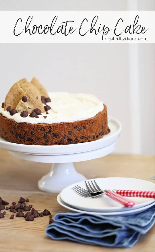 chocolate chip cookie cake, tastes just like a chocolate chip cookie createdbydiane.com