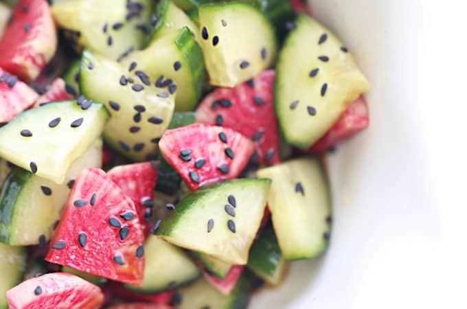 Watermelon Radish Cucumber Salad Asian Recipe createdbydiane.com