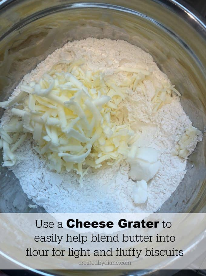 use a cheese grater to easily blend butter into flour for light and fluffy biscuits createdbydiane.com