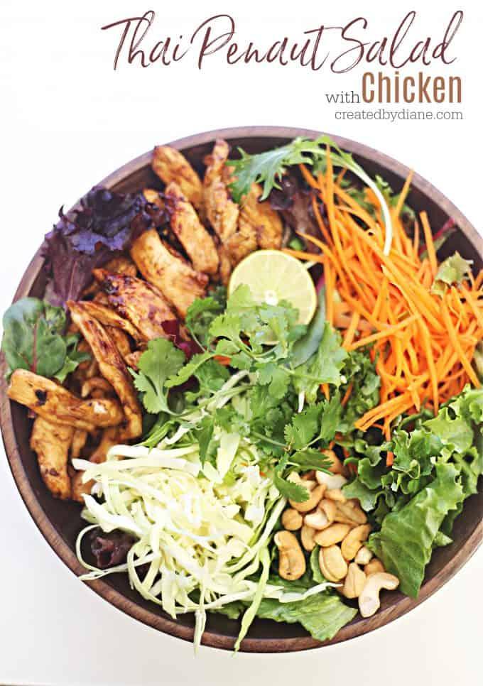 Delicious Thai Peanut Salad with CHICKEN createdbydiane.com