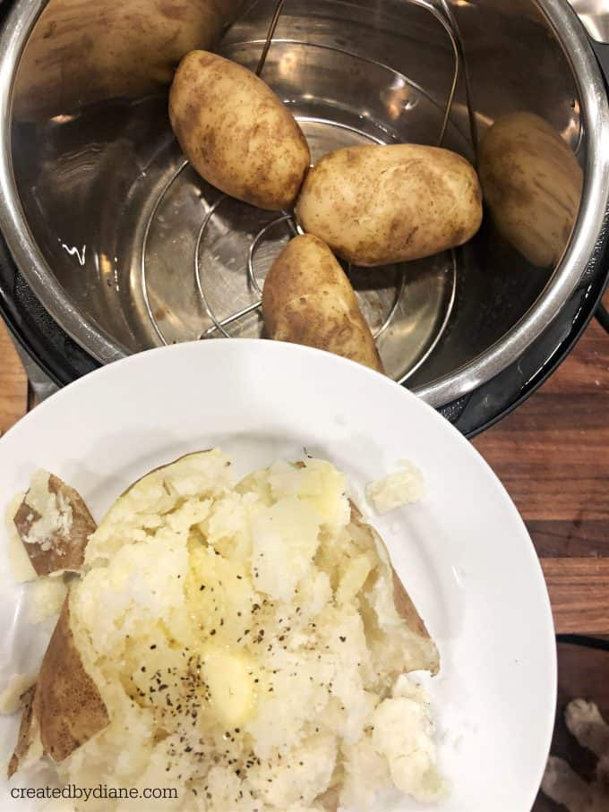 INSTANT POT BAKED POTATO timing and instructions createdbydiane.com