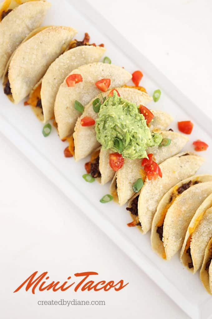 mini tacos with beef and cheese from createdbydiane.com