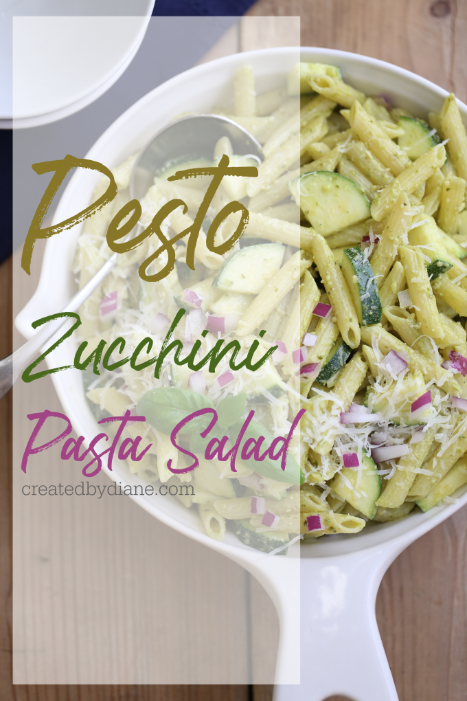 pesto zucchini pasta salad recipe createdbydiane.com