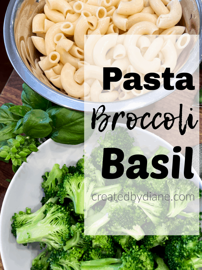 Broccoli Pasta Salad cooked elbow noodles, blanched broccoli and basil sauce for this easy cold pasta saladcreatedbydiane