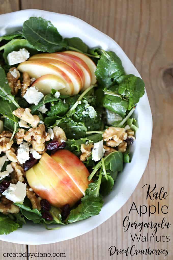 Kale apple gorgonzola salad createdbydiane.com